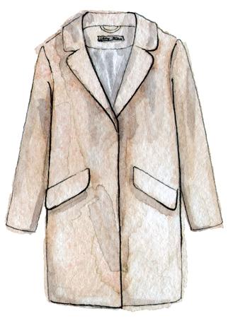 수채화 손 그림 패션 베이지 색 코트. 고립 된 요소