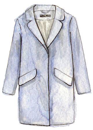 수채화 손으로 페인팅 패션 블루 코트입니다. 고립 된 요소