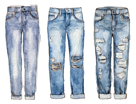 watercolor hand painting fashion jeans. isolated elements 版權商用圖片