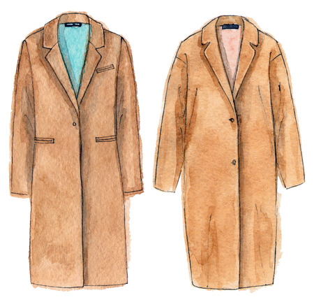 watercolor hand painting fashion beige coats. isolated elements 版權商用圖片