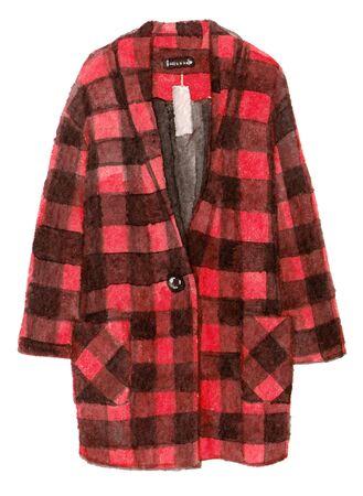수채화 손으로 페인팅 패션 빨간 코트입니다. 고립 된 요소