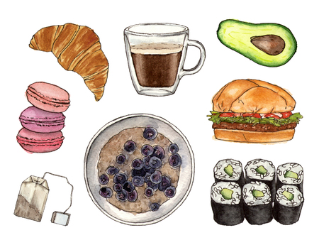 watercolor hand painting foods and drink. isolated elements 版權商用圖片