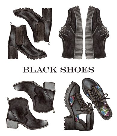watercolor hand painting fashion black shoes. isolated elements