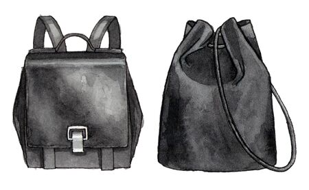 watercolor hand painting fashion black backpacks. isolated elements 版權商用圖片
