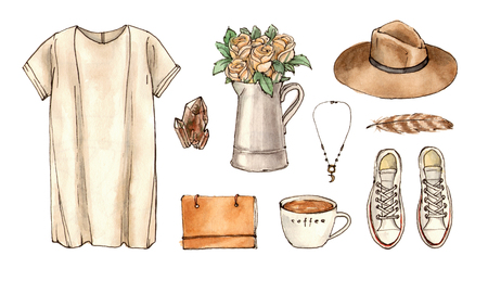 sketch summer outfit. hand drawing watercolor fashion illustration. set of isolated elements. 版權商用圖片