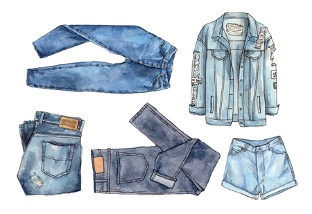 Watercolor hand painted fashion denim. isolated elements collection