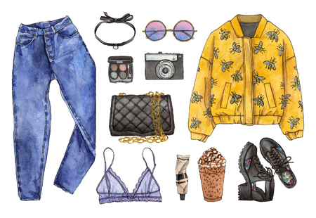 Watercolor hand painted sketch fashion outfit, a set of clothes and accessories. casual style. 90s old school style. isolated elements Stock Photo - 89268743