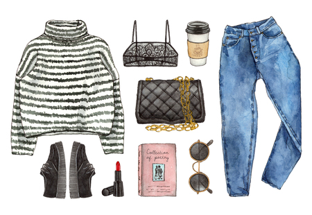 Watercolor hand painted sketch fashion outfit, a set of clothes and accessories. casual style. 90s old school style. isolated elements