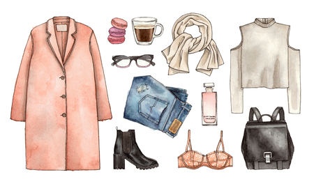 Watercolor hand drawing sketch fashion outfit, a set of clothes and accessories. casual style. isolated elements