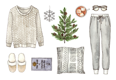 watercolor hand drawing sketch fashion outfit, a set of clothes and accessories. home style. isolated elements 版權商用圖片