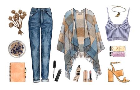 수채화 손을 스케치 패션 복장, 옷 및 액세서리 집합. 캐주얼 스타일. 고립 된 요소들 스톡 콘텐츠