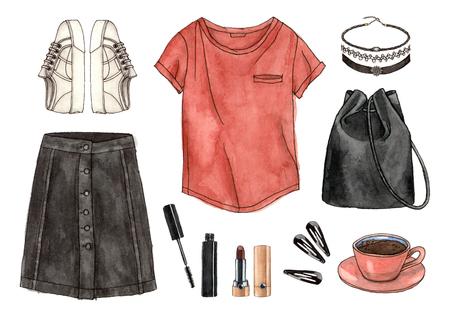 수채화 손을 스케치 패션 복장, 옷 및 액세서리 집합. 캐주얼 스타일. 90 년대 오래 된 학교 스타일입니다. 고립 된 요소들 스톡 콘텐츠