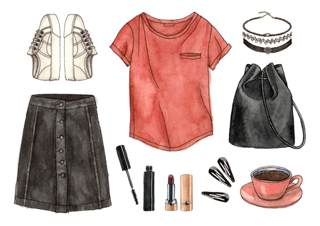 watercolor hand drawing sketch fashion outfit, a set of clothes and accessories. casual style. 90s old school style. isolated elements