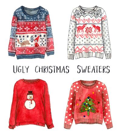 Lelijke kerstsweaters. aquarel mode schetsen. geïsoleerde elementen. Stockfoto - 89673578