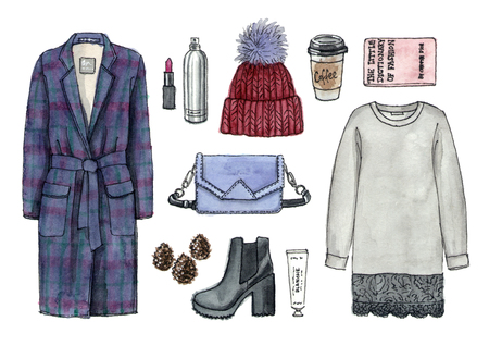 watercolor hand drawn sketch fashion outfit, a set of clothes and accessories. casual style. isolated elements 版權商用圖片 - 89673579