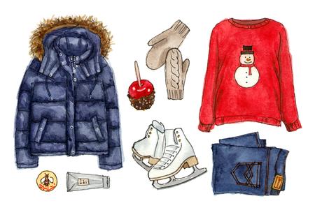 Olhar de férias de Natal de inverno. aquarela mão desenhada esboço moda roupa, um conjunto de roupas e acessórios. elementos isolados Foto de archivo - 89673580