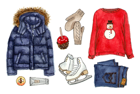 winter christmas holidays look. watercolor hand drawn sketch fashion outfit, a set of clothes and accessories.  isolated elements 版權商用圖片
