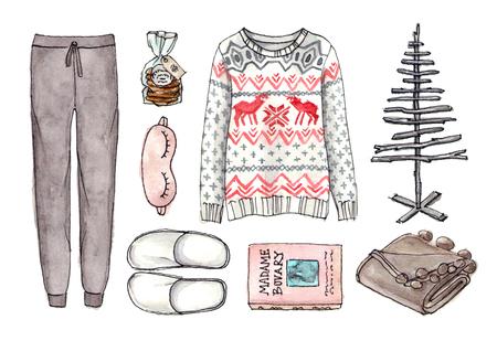 크리스마스 가정 아늑한보세요. 수채화 손으로 그려진 스케치 패션 복장, 옷 및 액세서리 세트. 고립 된 요소들