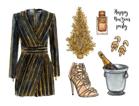 황금 행복 한 새 해 파티 봐. 수채화 손으로 그려진 스케치 패션 복장, 옷 및 액세서리 세트. 고립 된 요소들