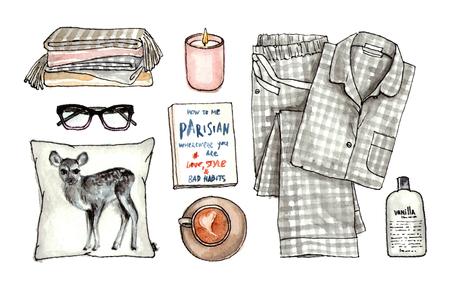 집 달콤한 아늑한 모습. 수채화 손으로 그려진 스케치 패션 복장, 옷 및 액세서리 세트. 고립 된 요소들 스톡 콘텐츠