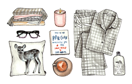 home sweet cozy look. watercolor hand drawn sketch fashion outfit, a set of clothes and accessories. isolated elements 版權商用圖片 - 89673583