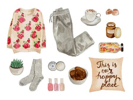 수채화 스케치 패션 복장, 옷 세트 및 액세서리. 가정 아늑한 스타일. 고립 된 요소들