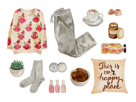 watercolor sketch fashion outfit, a set of clothes and accessories. home cozy style. isolated elements 版權商用圖片 - 89673584