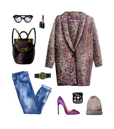 Aquarell Skizze Mode Outfit, eine Reihe von Kleidung und Accessoires. legerer Stil. isolierte Elemente Standard-Bild - 89673585