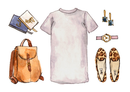 watercolor hand drawing sketch fashion outfit, a set of clothes and accessories. casual style. isolated elements 版權商用圖片 - 89673586