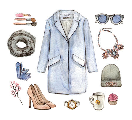 watercolor hand drawing sketch fashion outfit, a set of clothes and accessories. casual style. isolated elements 版權商用圖片 - 89673587