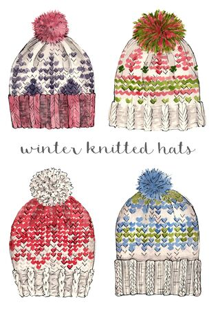 winter knitted hats. watercolor hand painted illustration. isolated elements. Stock Photo