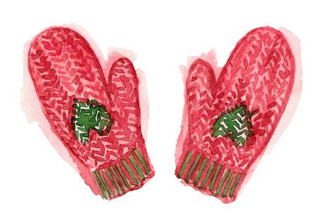 겨울 빨간색 니트 장갑입니다. 수채화 손으로 그림을 그렸습니다. 격리 된 요소입니다.