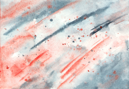 수채화 빨간색과 회색 추상 질감입니다. 손으로 그려진 배경.