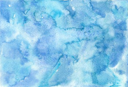 수채화 추상 파란색 텍스처입니다. 손 그림 배경입니다.