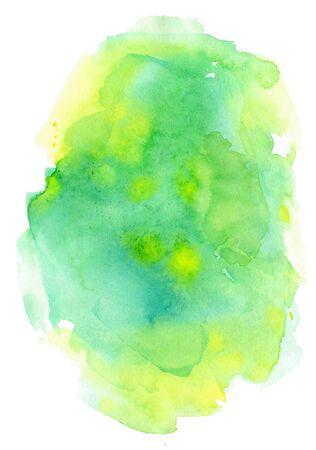수채화 추상 시작합니다. 녹색과 노란색 색상