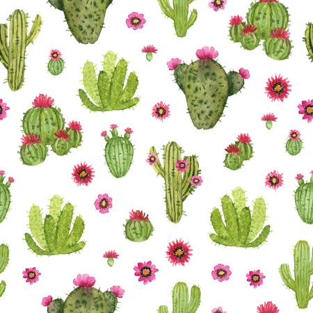 watercolor hand painted cactus. seamless pattern on a white background 版權商用圖片 - 96859950