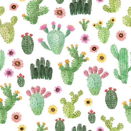watercolor hand painted cactus. seamless pattern on a white background