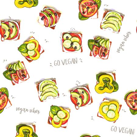 vegan sandwich illustration, seamless pattern