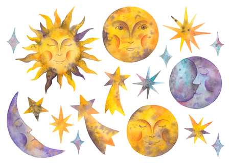 watercolor sun, moon,  stars and celestial bodies. isolated elements on a white background 版權商用圖片 - 96462534