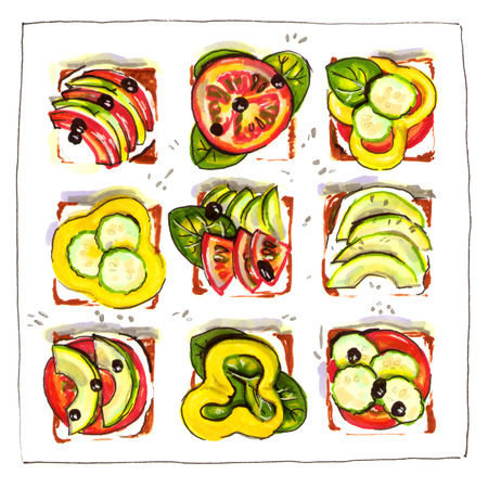 hand drawn vegan sandwich illustration. isolated elements