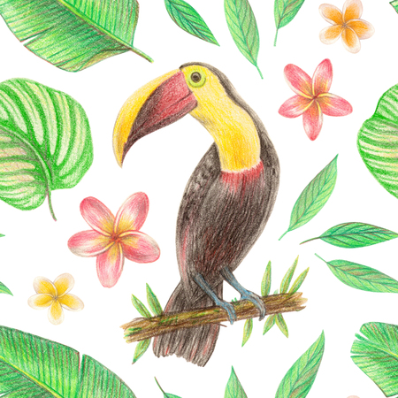 hand drawing tropical plants, flowers and birds. toucan in the tropics. seamless pattern 版權商用圖片