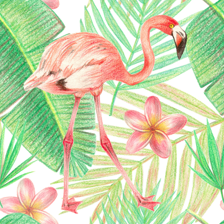 hand drawing tropical plants, flowers and birds. flamingo in the tropics. seamless pattern