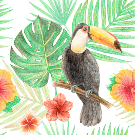 hand drawing tropical plants, flowers and birds.  toucan in the tropics. seamless pattern