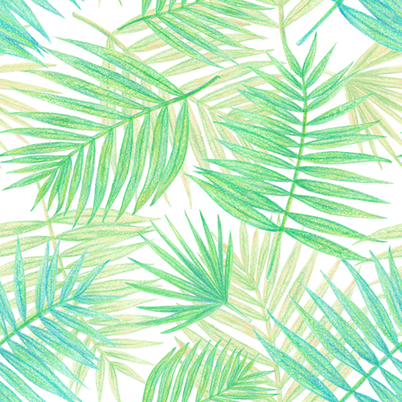hand drawing tropical plants. palm leaves seamless pattern