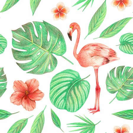 hand drawing tropical plants, flowers and birds. flamingo in the tropics. seamless pattern 版權商用圖片 - 103444061