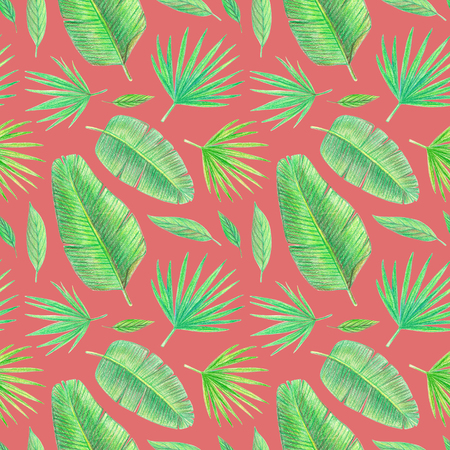 hand drawing tropical plants. palm leaves seamless pattern on a red background 스톡 콘텐츠