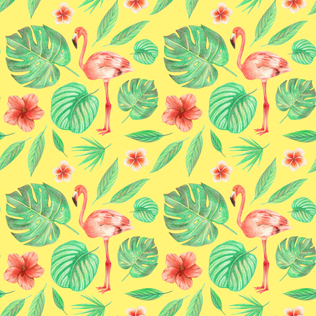 hand drawing tropical leaves, flowers and birds. flamingo in the tropics. seamless pattern on a yellow background