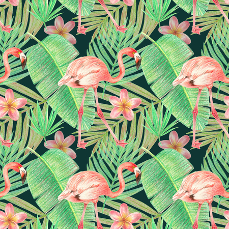 hand drawing tropical plants, flowers and birds. flamingo in the tropics. seamless pattern on a dark green background 스톡 콘텐츠