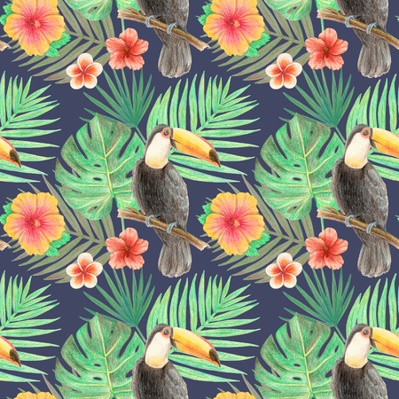 hand drawing tropical plants, flowers and birds.  toucan in the tropics. seamless pattern on a grey background