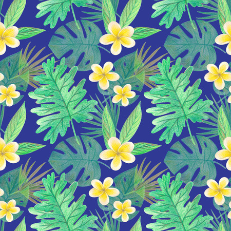 hand drawing tropical leaves and flowers. seamless pattern on a blue background